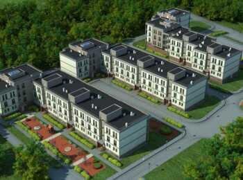 Вид сверху на жилые корпуса ЖК Коммунар